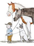 portret z końmi i psem