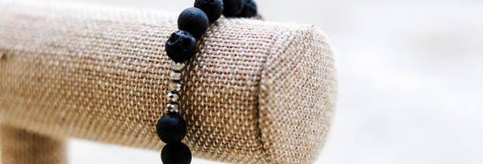 Black Lava Bead Bracelet with Silver