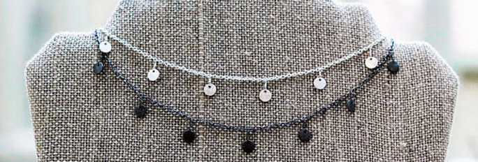 Double Layer Dangle Choker//Silver & Gunmetal