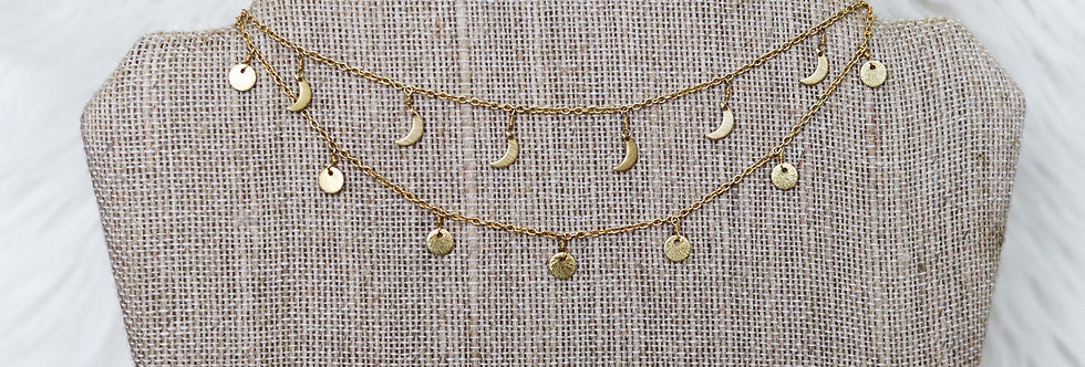 Double Layer Dangle Choker//Gold
