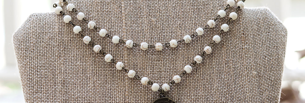 Double Layer Howlite Choker