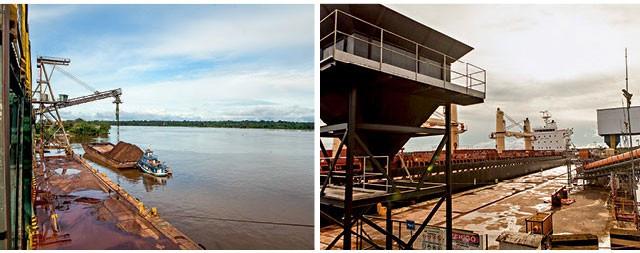 À esqueda, carregamento de cavaco e, à direita, navio atracado no Porto de Santana