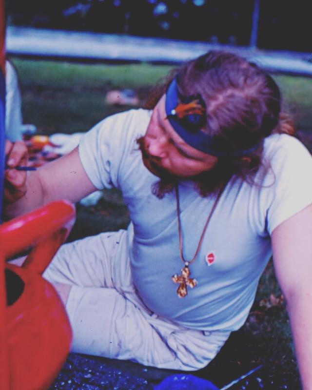 Dr. Bob Painting the Woodstock Bus Light