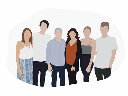 Digital Illustration - Family / Group up to 8pp