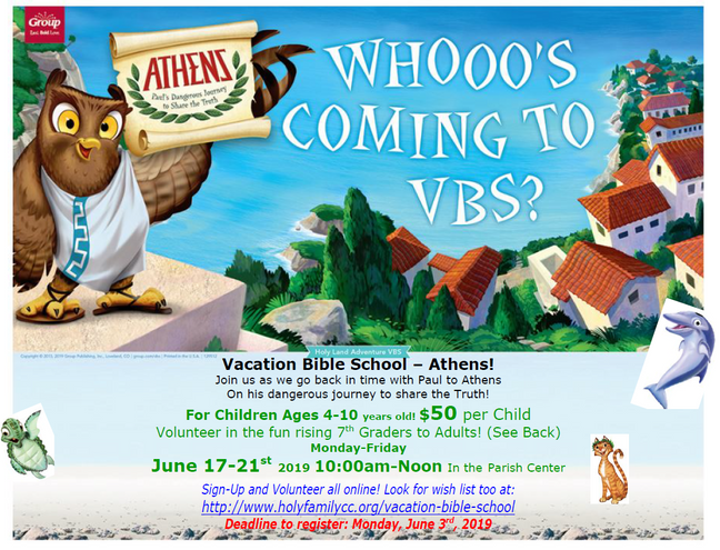 VBS REGISTRATION deadline June 3rd.
