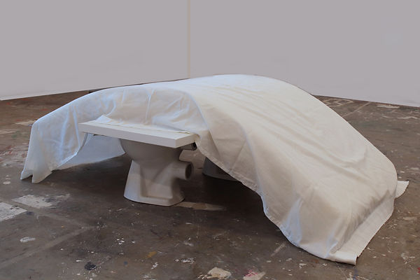 3_Untitled, a bench made from wood and ready-made toilets with a mattress and fabric draped over (ca. 100 x 200 cm) 2020