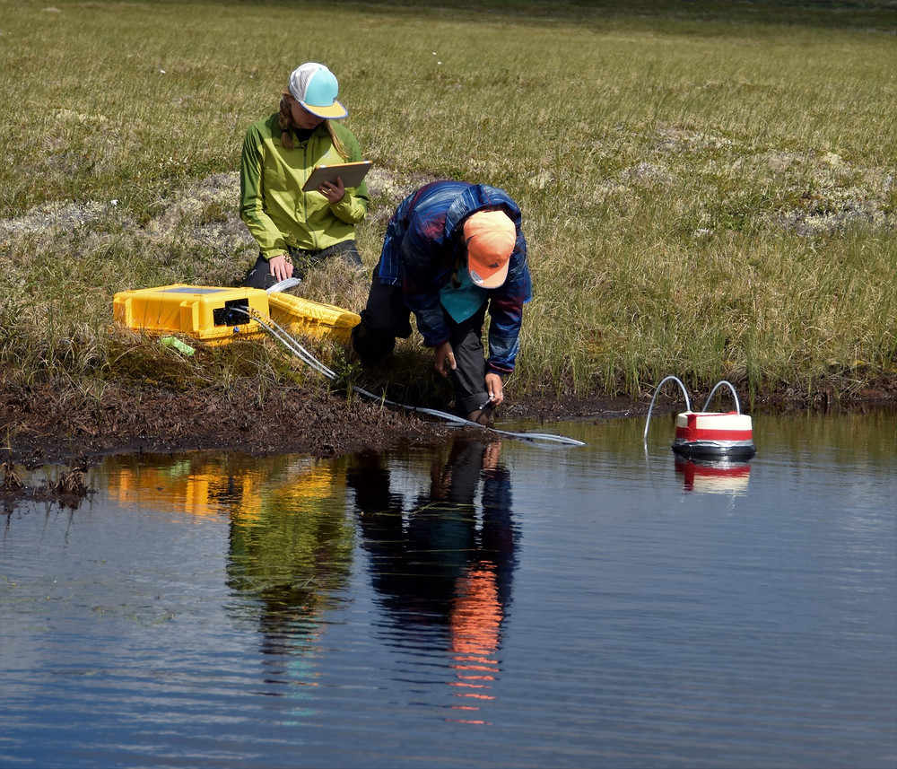 Darcy Peter and Emily Bristol work together to study greenhouse gas emissions from tundra pond in the Yukon-Kuskokwim River Delta.