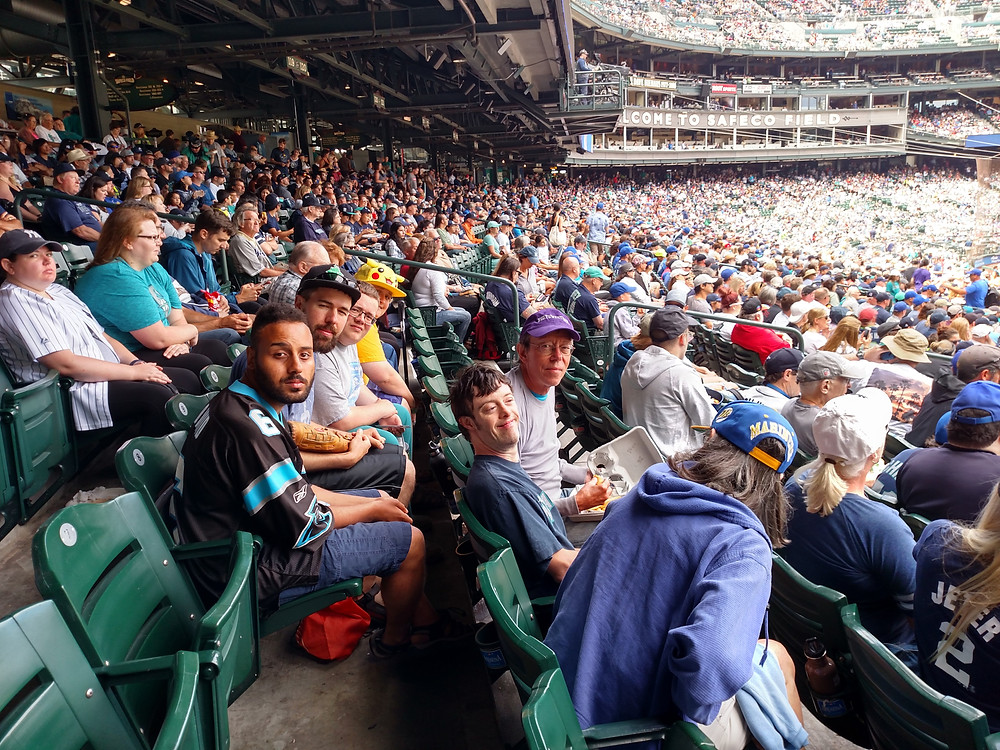 Developmentally Disabled Adults enjoy a professional baseball game in Seattle, WA.