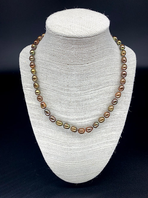 Fresh Water Potato Pearl Necklace - Brown