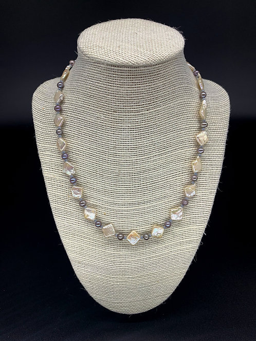 Fresh Water Diamond Pearl Necklace with Round Pearls - White and Lavender