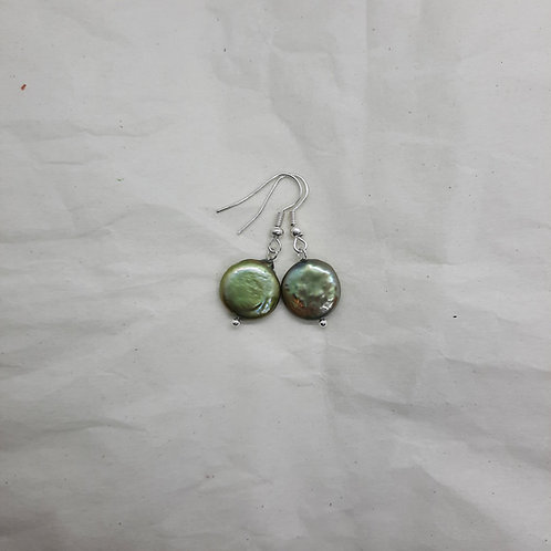 Freshwater Green Coin Pearl Earrings