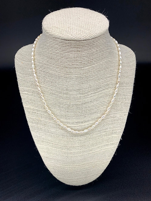 Fresh Water Rice Pearl Necklace - White