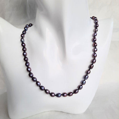 Freshwater Black/Purple Potato Pearl Necklace