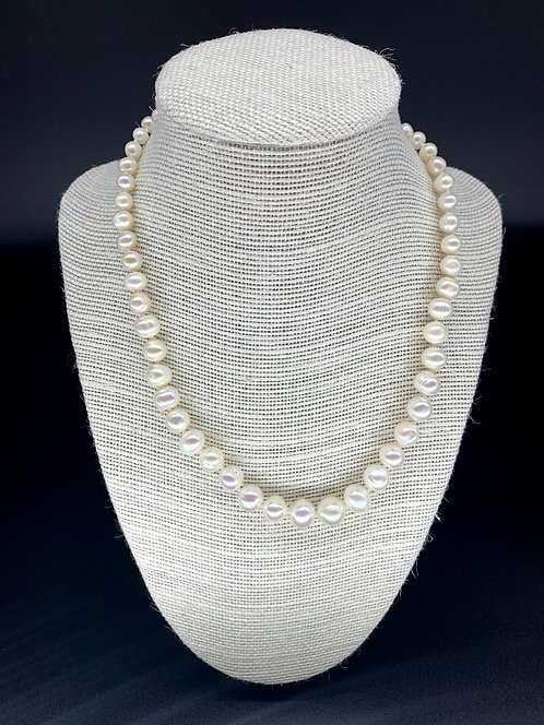 Fresh Water Natural Round Graduate Pearl Necklace - White