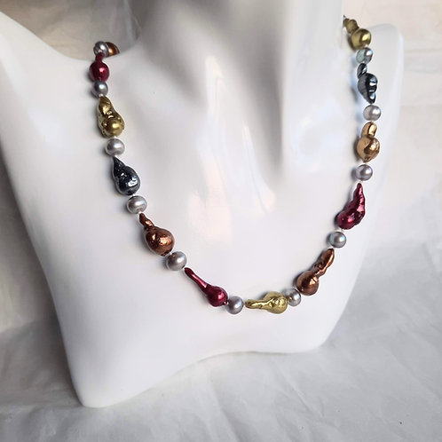 Multicoloured Baroque Pearl Necklace