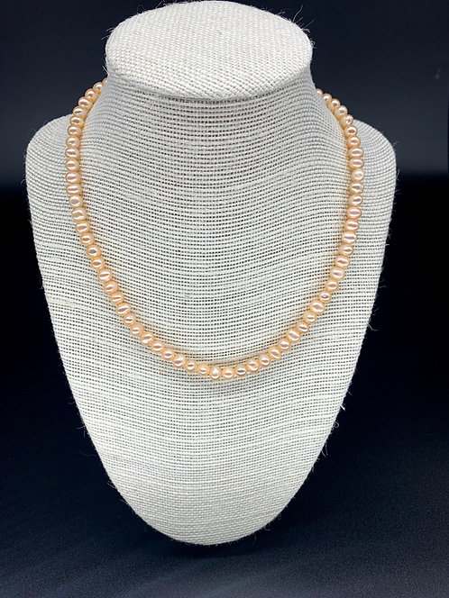 Fresh Water Natural Round Pearl Necklace - Peach Pink