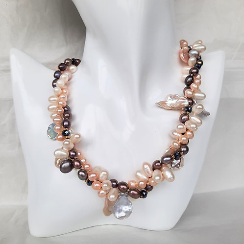 Freshwater Three-stand  Mixed Pearls Necklace