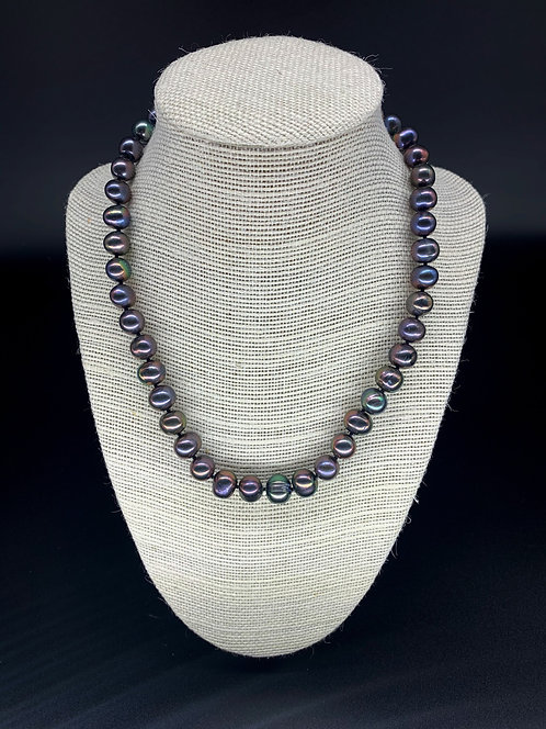 Fresh Water Natural Round Pearl Necklace - Purple/Black