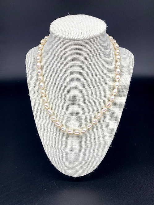 Fresh Water Regular Potato Pearl Necklace - White