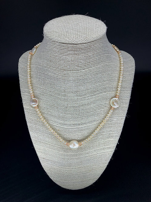 Fresh Water Small Round Pearl and Coin Pearl Necklace - White & Pink