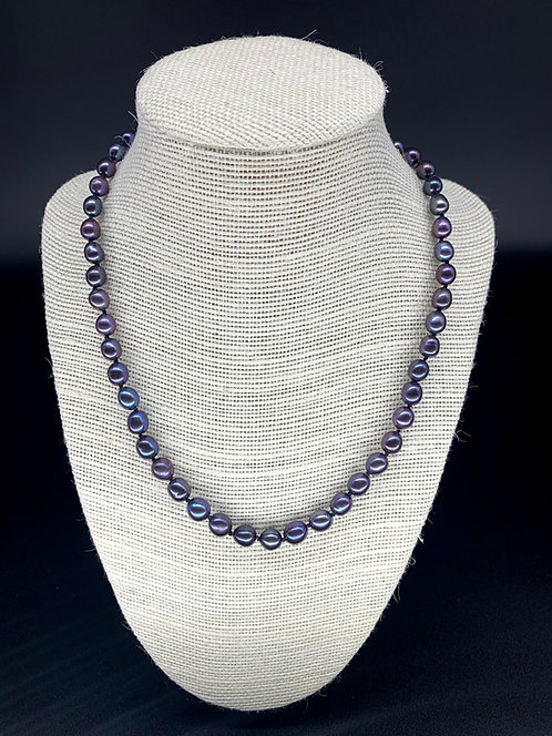 Fresh Water Regular Potato Pearl Necklace - Purple/Black