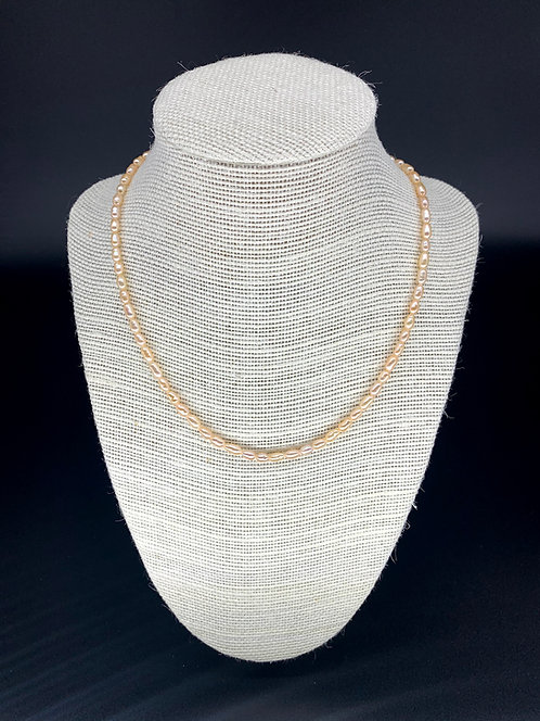Freash Water Rice Pearl Necklace - Peach Pink