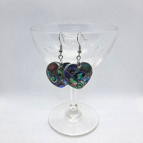 Heart Shaped Abalone Shell Earrings