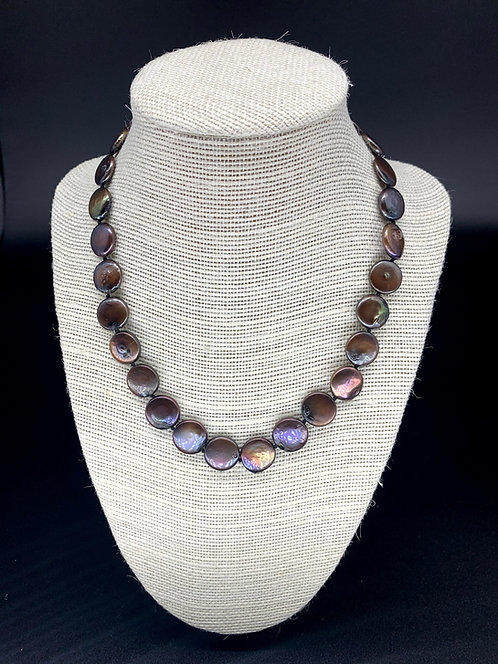 Fresh Water Black Coin Pearl Necklace