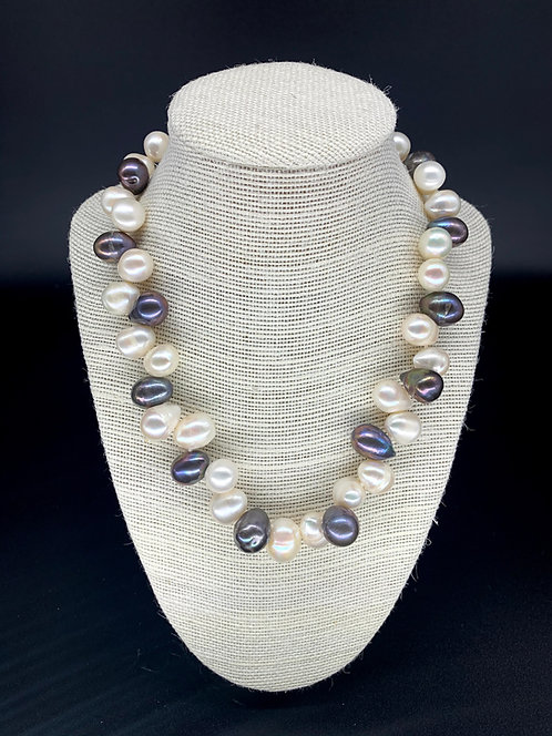 Fresh Water Top Drilled Irregular Pearl Necklace - Black & White