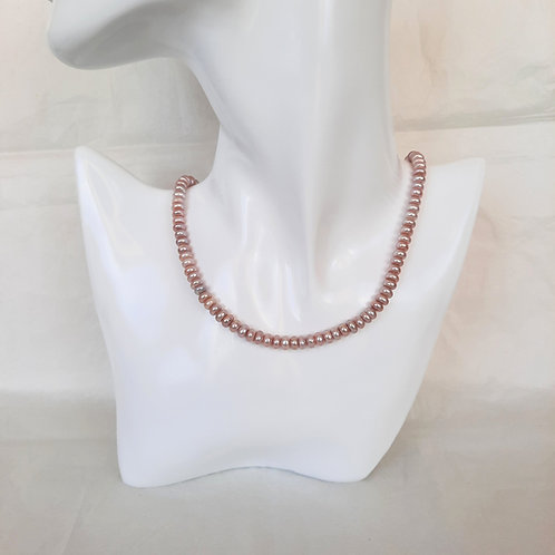 Pink/Lavender Disc Pearl Necklace