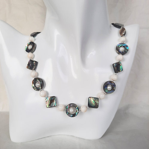Abalone (double sided) Shell & White Mother of Pearl Necklace