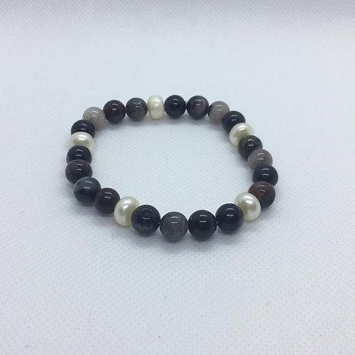 Fresh Water Round Pearl and Dark Agate Bracelet