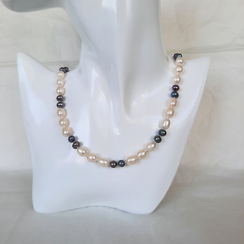 Freshwater White Potato Pearl  & Black Round Pearl Necklace