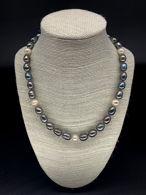 Fresh Water Black Potato Pearl and White Round Pearl Necklace