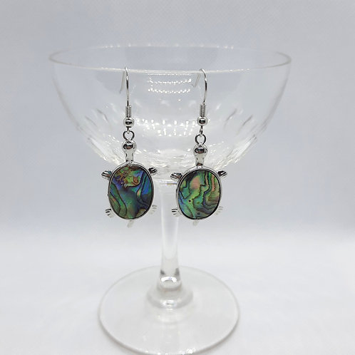 Tortoise Shaped Abalone Shell Earrings