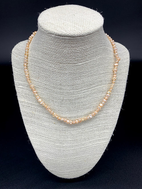 Fresh Water Baby Baroque Pearl Necklace - Peach Pink