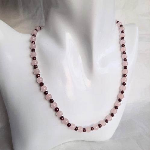 Rose Quartz and Red Garnet Necklace