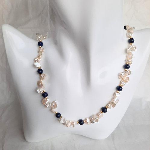 Freshwater Keishi Pearl Necklace and Lapis Lazuli
