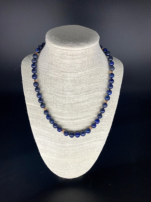 Lapis Lazuli (with Rose Gold Plated Spacers) Necklace