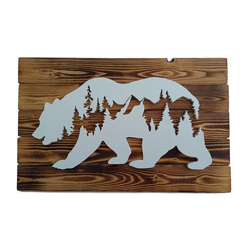 WILD - Orso in gres su legno