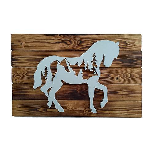 WILD - Cavallo in gres su legno