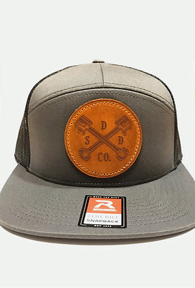 Charcoal Leather Patch Trucker Hat