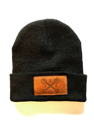 Charcoal Grey Leather Patch Toque