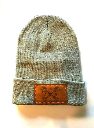 Heather Grey Leather Patch Toque