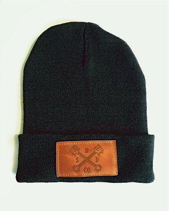 Black Leather Patch Toque