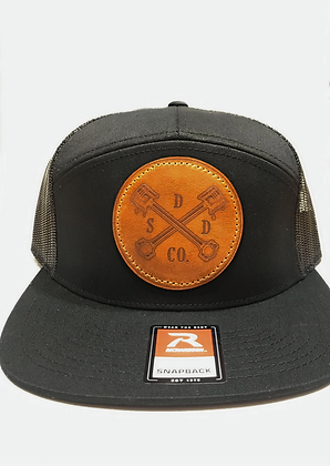 Black Leather Patch Tucker Hat