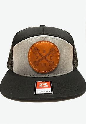 Heather Grey/Black Leather Patch Trucker Hat