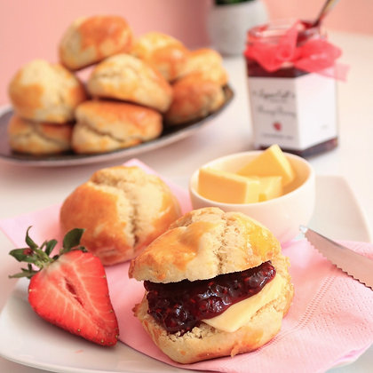 Classic afternoon tea scones with butter and homemade jam