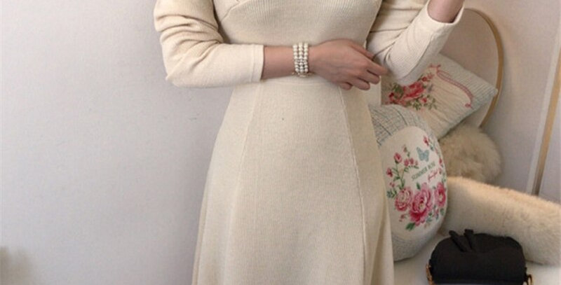 Casual V-NeckSweater Dress