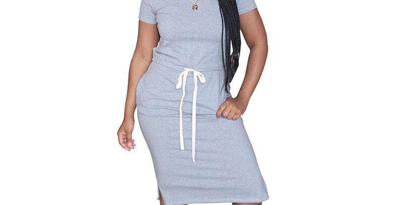 Solid Casual Short Sleeve Drawstring  Dress